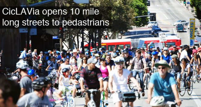 A mob of cyclists at CicLAvia wait for traffic to cross at the corner of Spring and 5th Streets in downtown Los Angeles on April 15. Photo credit: Carl Robinette / Daily Sundial