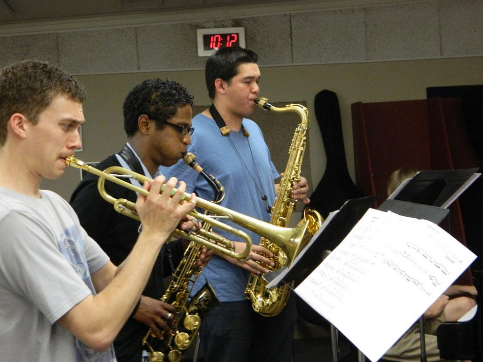 Members of CSUN Jazz ensemble get ready for One World Art and Music Festival with late-night rehearsal. Photo credit: Carl Robinette / Daily Sundial