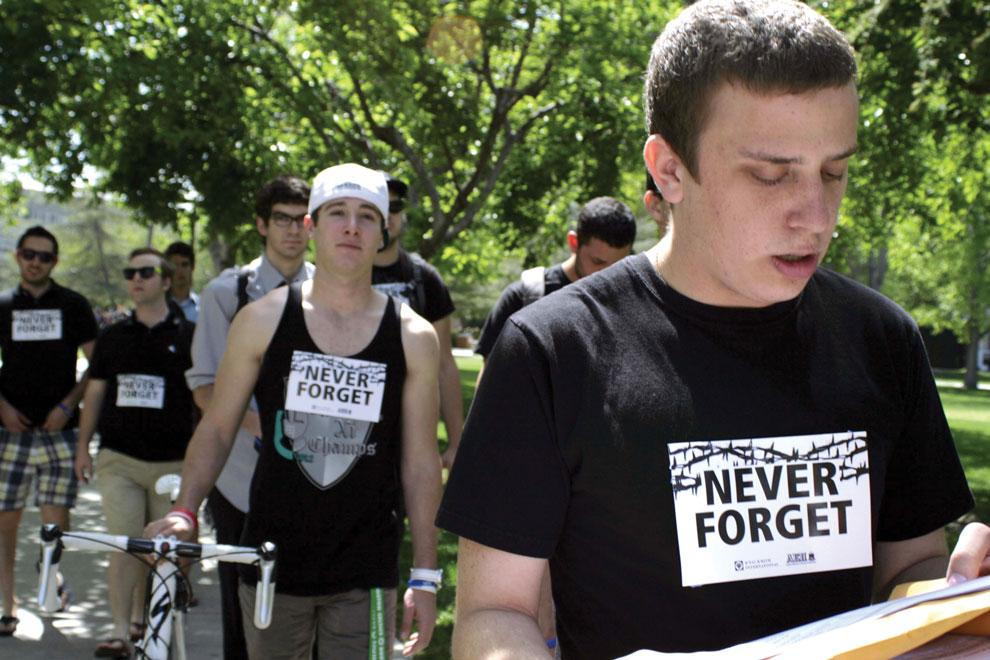 We Walk to Remember was organized by Josh Blank, a freshman pre-CTVA major from the AEÎ  Fraternity. They walked around CSUN on Thursday, to remember those lost in the Holocaust. Photo credit: Farah Yacoub / Daily Sundial