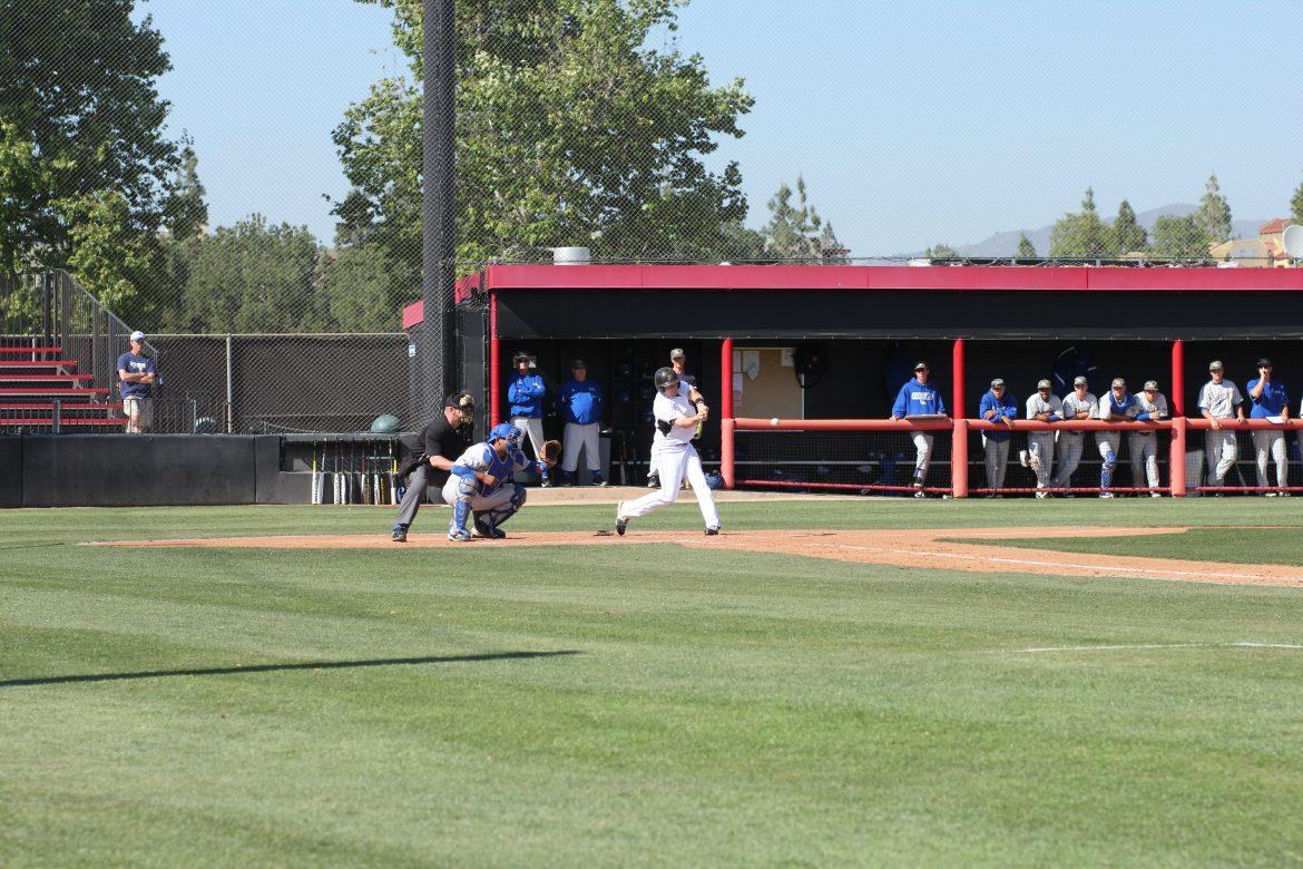 CSUN+designated+hitter+Steven+Keller+looks+to+get+on+base+during+a+game+against+CSU+Bakersfield+on+April+10.+Keller+and+the+Matadors+are+looking+to+sweep+UC+Riverside+this+weekend.+Photo+Credit%3A+