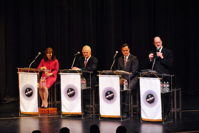 (Left to right) Susan Shelley, Congressman Howard Berman (28th District), Mark Reed and Congressman Brad Sherman (27th district) during the National Congressional Debate at the Valley of Performing Arts Center on April 30. Photo credit: Andres Aguila / Daily Sundial