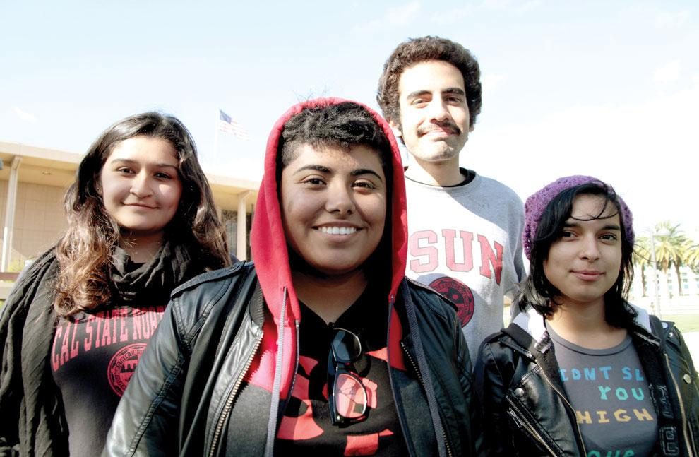 Sarah Garcia, 19, Grace Castaneda, 20, Matthew Delgado, 20, Raiza Arias, 18, particpate in the CSU wide hunger strike to stop budge cuts.