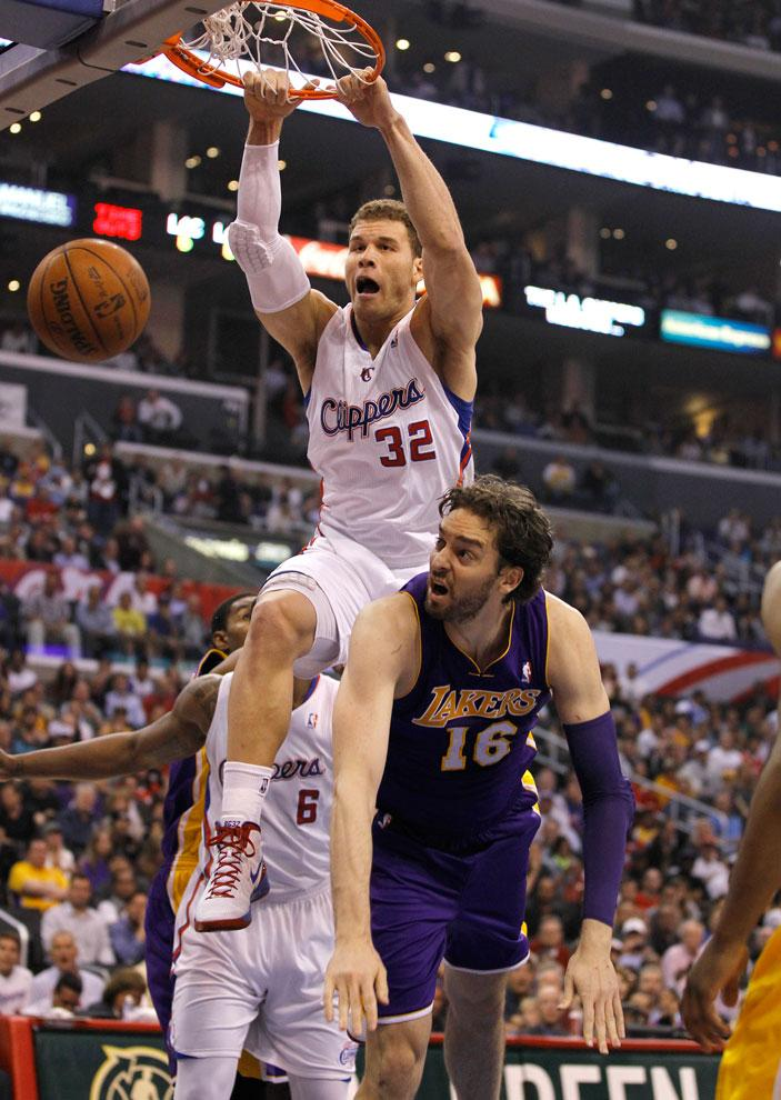 Clippers forward Blake Griffin slams home a basket over Lakers forward Pau Gasol on April 4. The Clippers came back from a 27-point deficit to win Game 1 of their first round playoff series against Memphis, and that didn't sit well with some Laker fans. Courtesy of MCT.