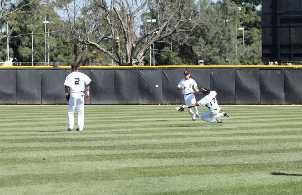 CSUN+outfielder+Miles+Williams+dives+for+a+catch+in+a+game+against+CSU+Bakersfield+on+April+10.+The+Matadors+travel+to+Riverside+to+start+their+series+with+the+Highlanders.+Photo+credit%3A+Blake+Gayton+%2F+Contributor
