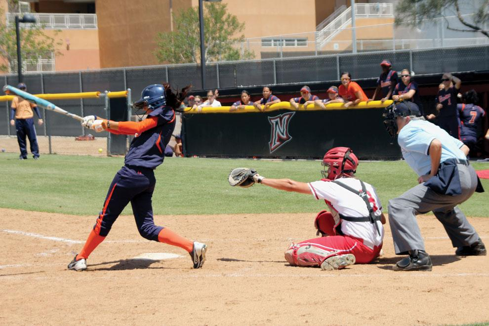 CSUN catcher Mikayla Thielges attempts to catch the ball during a game against Cal State Fullerton Saturday. Thielges and the Matadors are looking to bounce back from a 11-0 loss to the Titans as they head to Riverside for a three-game series. Photo credit: Shohba Limbu / Contributor