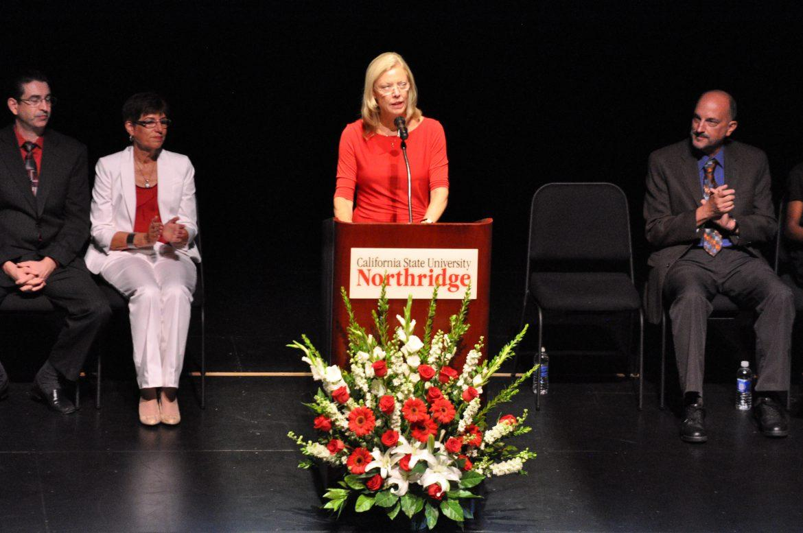 CSUN president, Dianne Harrison talks to students, faculty and staff at the Presidential Convocation in the Valley Performance Arts Center on Thursday.