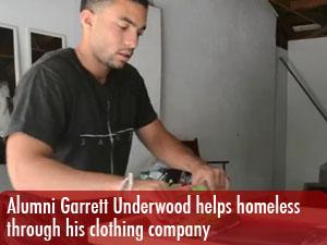 Alumni Garrett Underwood helps homeless through his clothing company