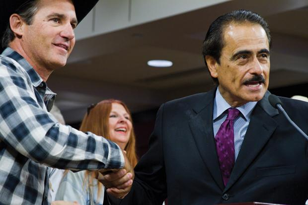 Council member Richard Alarcón recognizes Event Chairman Dale Gibson for his support and dedication to the Horse Ranchers Association in San Fernando Valley during a City Council meeting in Van Nuys. Photo credit: Karla Henry / Contributor