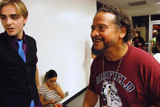 Juan Melendez, 61, (right) addresses Cal State Northridge students on the injustice of the death penalty. Melendez was released from prison in 2002 after spending over 17 years on death row for a crime he did not commit.