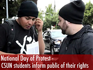 Students hand out info for National Day of Protest