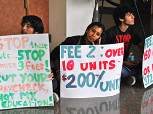 Students host a sit-in against tuition increases