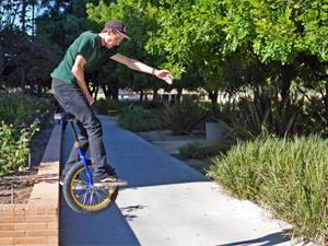 Students unicycle their way around campus