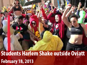 CSUN students dance Harlem Shake in front of Oviatt Library