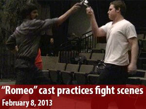 """Romeo and Juliet"" cast practice fight scene choreography"