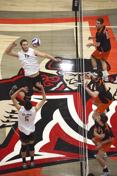 Senior middle blocker Drew Staker goes up for a hit against visiting Pacific. CSUN had a season-best hitting percentage in the win. Photo credit: Ivanna Valdivia / Contributor