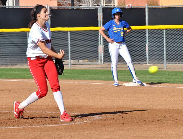 Junior pitcher Mia Pagano, who replaced starting pitcher Brianna Elder, tries to strike out a  CSU Bakersfield batter. Photo credit: Wynnona Loredo / Contributor