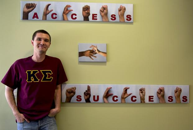 Spencer Logan is a junior and is in the Fraternity Kappa Sigma. He and his fraternity brothers have an affinity for deaf studies. Photo credit by Ivanna Valdivia/Contributor