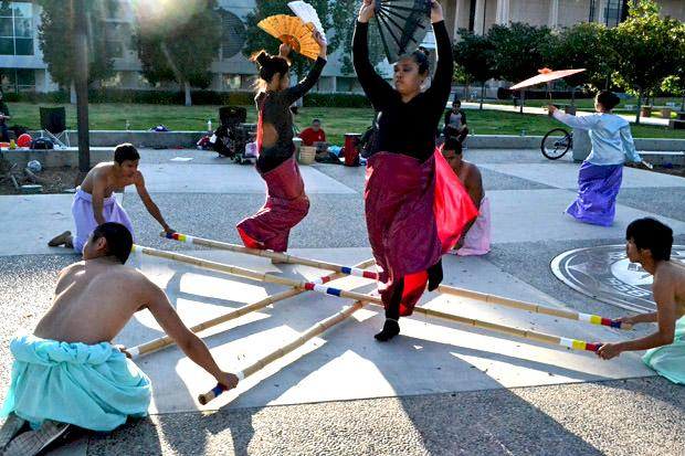 The CSUN Filipino American Student Association (FASA) rehearse for Pilipino Culture Night (PCN). PCN will feature traditional and modern dance, music and theatre and will take place on Saturday, April 6, at the Plaza Del Sol, USU.  Photo Credit: John Saringo-Rodriguez