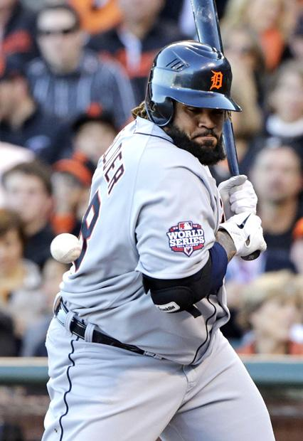 Tigers batter Prince Fielder gets hit with a pitch and earns a walk. Photo courtesy of MCT