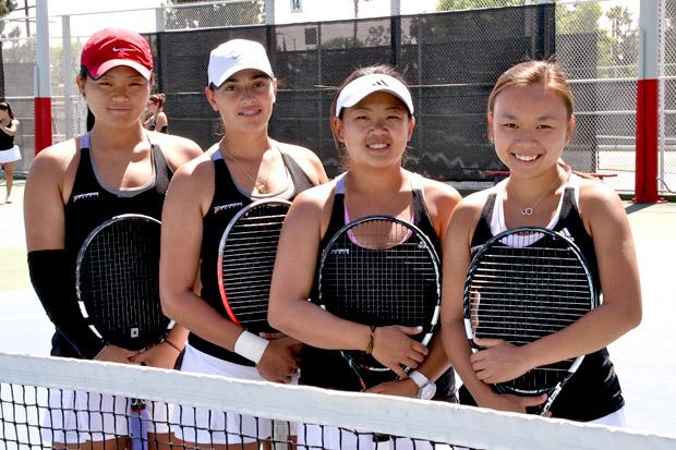 From left to right, senior Sabrina Man-Son-Hing, senior Maria Pistalu, senior Anna Yang and junior Lorraine Cheung.  make up the number one and two doubles teams for csun's women's tennis. Michelle Reuter/Daily Sundial