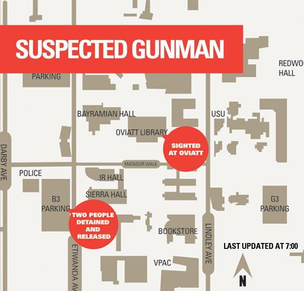 Sightings of suspected gunman. Map credit: Jennifer Luxton/ Visual Editor