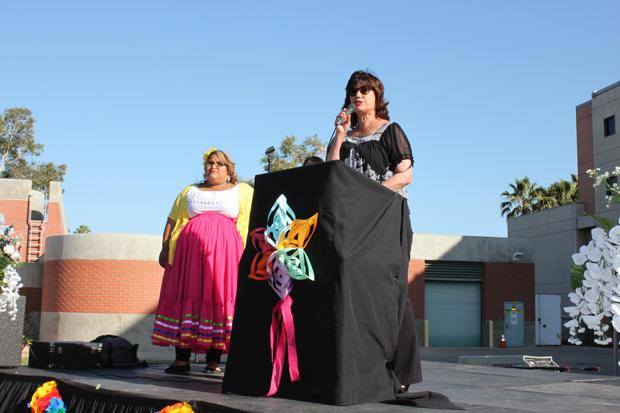 Chicana/o studies department chair Mary Pardo opens up the Aztlan Graduation Ceremony for the Spring 2013 which was held on May 18 on the side of the Chicano House on campus. Featured keynote speaker was Dr. Christina Ayala-Alcantar of the Chicana/o studies department. Photo credit by Luis Rivas/Opinions Editor