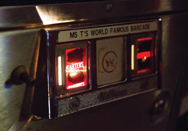 Before the bar was known as Blipsy Barcade, it was known as Ms. T's World Famous Barcade. A placard on the pinball machine Stellar Wars is remnant of the old establishment.
