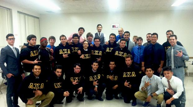 Lambda Chi Alpha celebrates after their fundraiser where they were able to donate money to the Northridge Fosters Children Resource Center. Photo courtesy of Luis Canton
