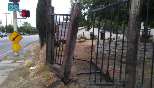 DeBose's Prius crashed into the fence on the corner of Plummer Avenue and Wilbur Avenue.