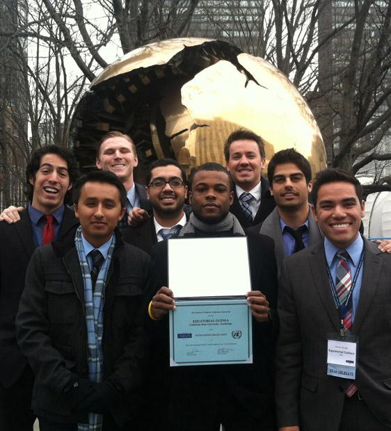 CSUN's Model United nations club posed with their award at the national conference in New York. Photo courtesy of Model United Nations