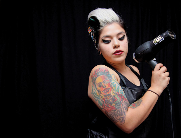 Freelance hair dresser, Sonia Salinas, 22, completed cosmetology school at Lu Ross and has been doing hair for almost six years. In her free time Salinas participates in events hosted by RAW Artists, an independent arts organization that supports local artists with talents in everything from photography, music, and fashion, where Salinas has had her own runway show displaying her works of makeup and hair on chosen models.