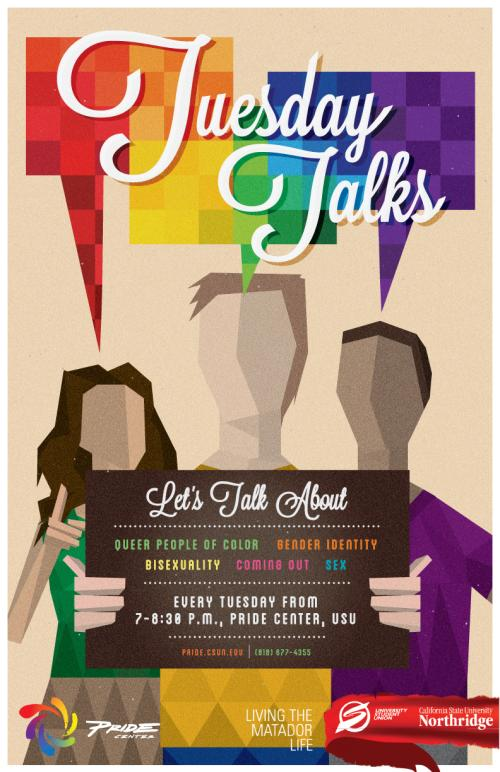 The Tuesday Talks promotional poster. Photo credit: CSUN Pride Center
