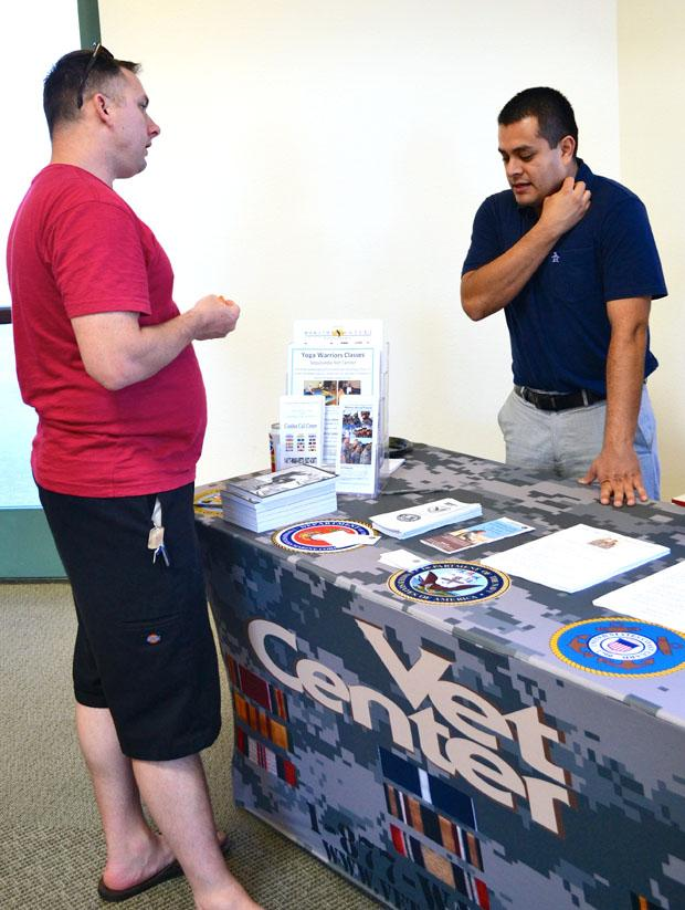 Jason St. Pierre, 36, civil engineering major, visits the Veterans Resource Center for their semester kick-off event held on Tuesday, Aug. 27. Photo credit: Victoria Becerril / Daily Sundial