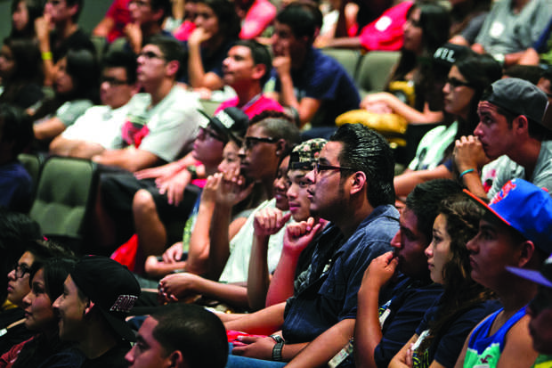 New students listen to speakers during freshman orientation at the Plaza Del Sol on Aug. 25, 2013 Photo credit: Charlie Kaijo / Senior Reporter