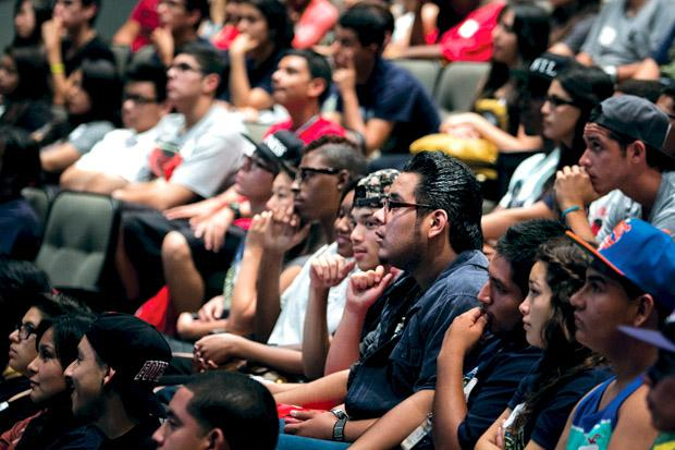 New students listen to speakers during freshman orientation at the Plaza Del Sol. Student orientation leaders have increased their working hours to accommodate more freshman groups in response to the increased enrollment for this fall semester. Photo credit by Charlie Kaijo/ Senior Reporter