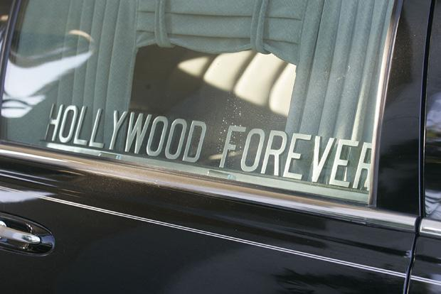 A Hearse is parked in the Hollywood Forever Cemetery in Los Angeles, California. Photo credit: Ana Venegas / Orange County Register / MCT