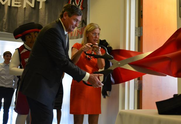 Chancellor Timothy White and President Dianne F. Harrison join the CSUN community in celebrating the grand opening of the Matador Achievement Center on Monday, Sept. 9. Photo credit: John Saringo-Rodriguez / Photo Editor