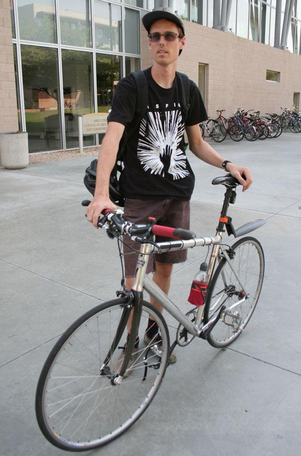 Dennis D'Alfonso, engineering major, became a founding member of the CSUN Bike Collective after transferring to CSUN from Santa Barbara City College. Photo credit: Neelofer Lodhy / Daily Sundial