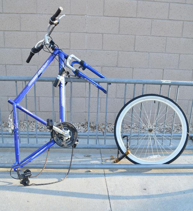 All over campus bicycles are stripped apart by theives. CSUN Police Department advises students to lock their bikes in the provided compounds to prevent theft. Photo credit: John Saringo-Rodriguez / Photo Editor