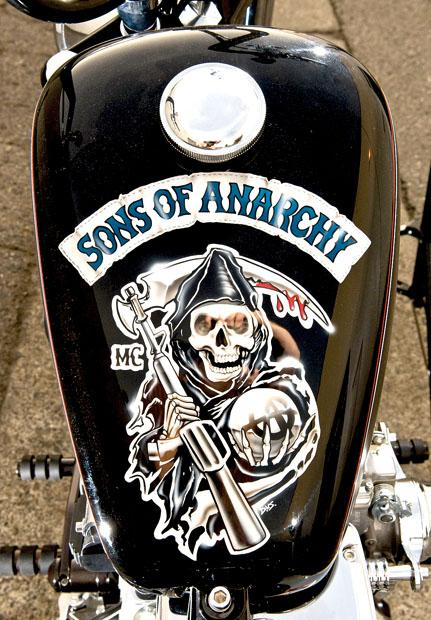 "The gas tank art on the 2010 Hellrazor S/T built for the Wounded Warriors Foundation by Kurt Sutter, creator of ""Sons of Anarchy,"" Illusion Cycles and FX, in Westminster, California, on December 4, 2012. Photo credit: Leonard Ortiz/Orange County Register/MCT"
