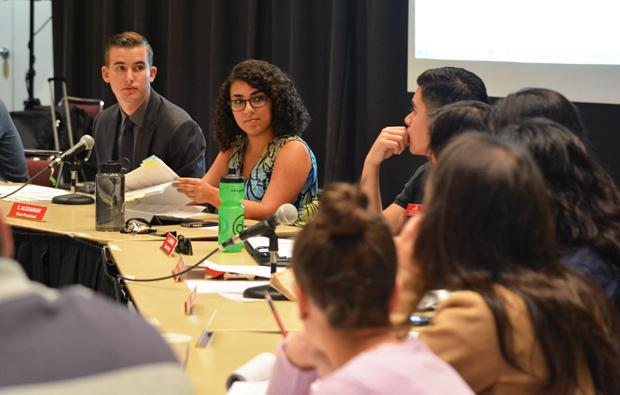 Associated Students (A.S.) held their weekly meeting at the Northridge Center on Monday. A.S. discussed the proposed wellness center for the Student Recreational Center. Photo credit: John Saringo-Rodriguez / Photo Editor