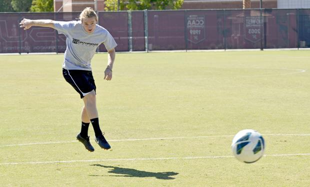 Chris Smith, senior midfielder, takes a shot at goal on the practice field. He has overcome a multitude of injuries over the course of his career at CSUN. Smith has four goals and two assists so far this season. Photo credit: Alex Vejar / Daily Sundial