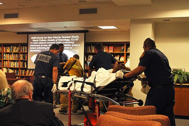 Dr. Sue Kapitanoff, chair of Behavior Sciences and Liberal Studies, fainted and was rushed to the hospital at the Richard Smith Lecture series Thursday night. Photo credit: Pilar De Haro / Contributor