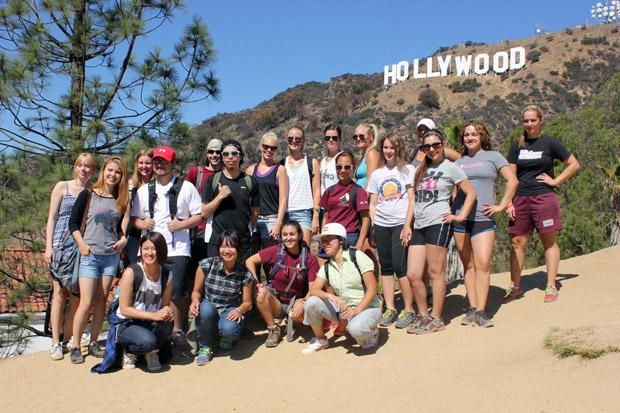 Students and guides stopped for photo of the whole group in front of the Hollywood sign. Ana Rodriguez / Daily Sundial