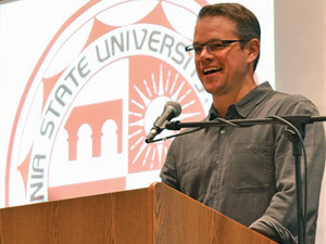 Matt Damon visits CSUN to introduce NYU professor Diane Ravitch, a representative of the Education on the Edge speakers series