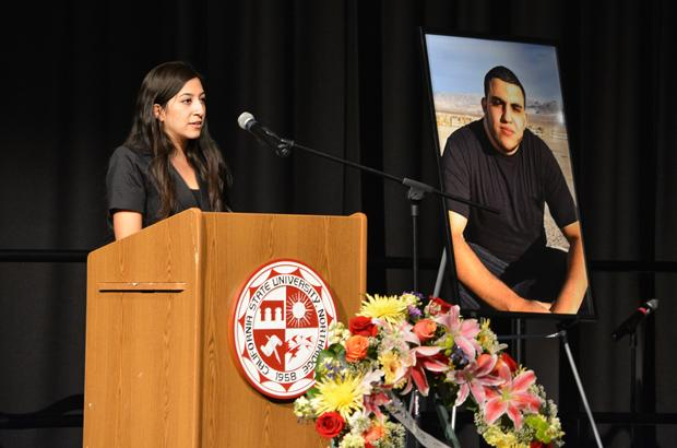 Nicole Karaan, president of the CSUN Lebanese Student Association, spoke fondly of Ahmed Michael Jabali at his memorial service on Monday. Photo credit: John Saringo-Rodriguez / Daily Sundial