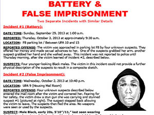 CSUN PD report incidents of battery, false imprisonment in UPA