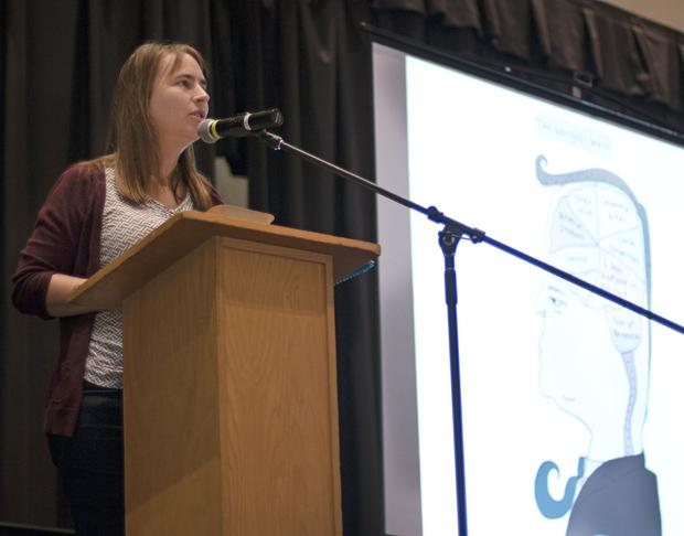 "Stephanie McMillan, political cartoonist, gave a lecture titled, ""Capitalism Must Die! Our Planet is Not Expendable,"" during Campus Sustainability Day on Oct. 22, 2013, in the Northridge Center, USU. Photo credit: Trevor Stamp / Daily Sundial"