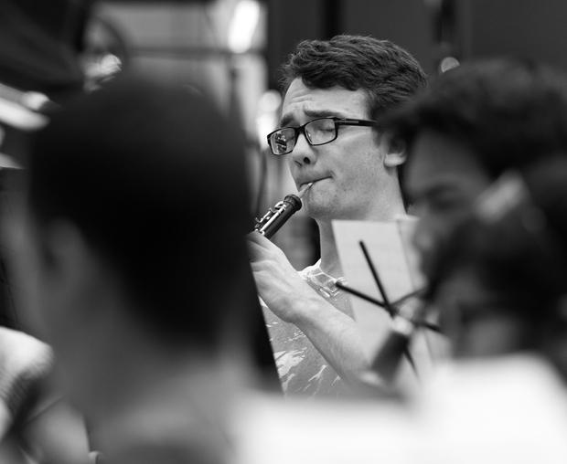 Kennedy rehearses with the CSUN wind ensemble on Sept. 26 in Cypress Hall. Photo credit: Trevor Stamp / Daily Sundial