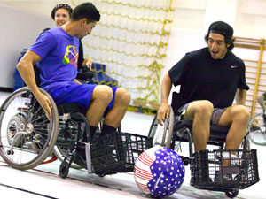 CSUN kinesiology students learn the basics of Power Soccer